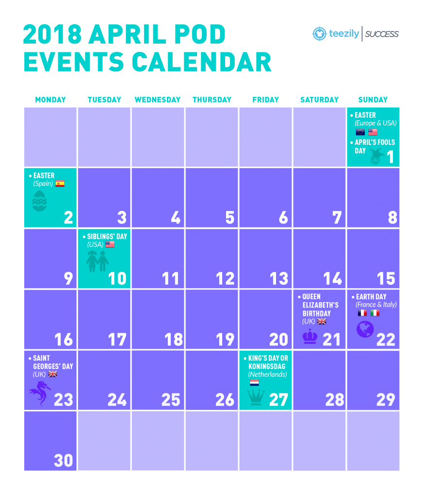 Calendar April Events : April pod events calendar easter siblings day