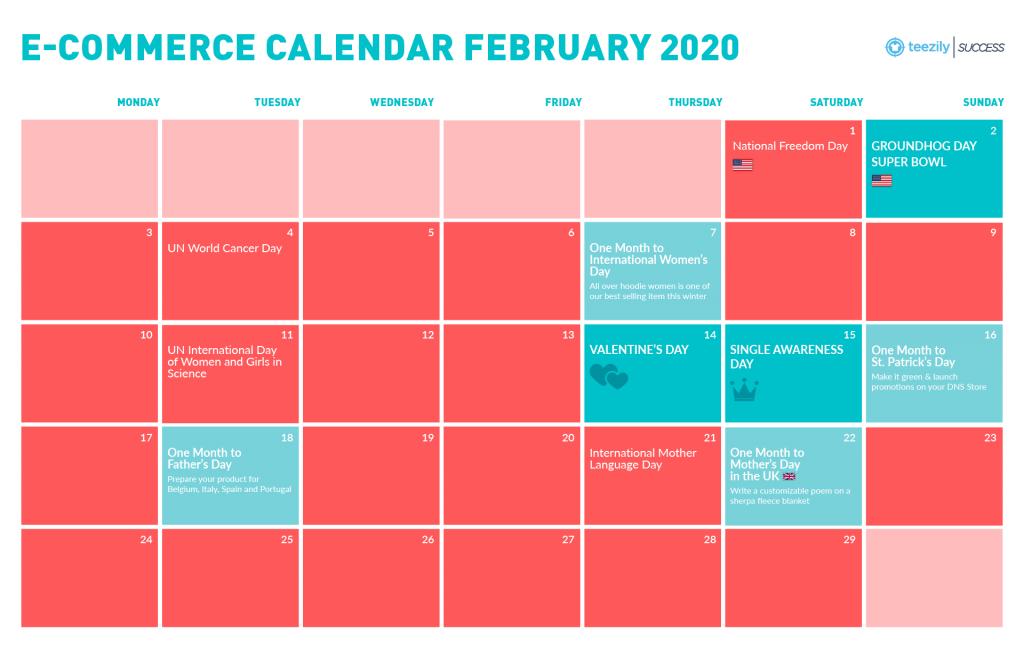 February E-Commerce Calendar